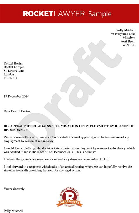 Redundancy Appeal Letter Exle How To Write An Appeal Letter Appeal Letter To An Employer Appeal Letter