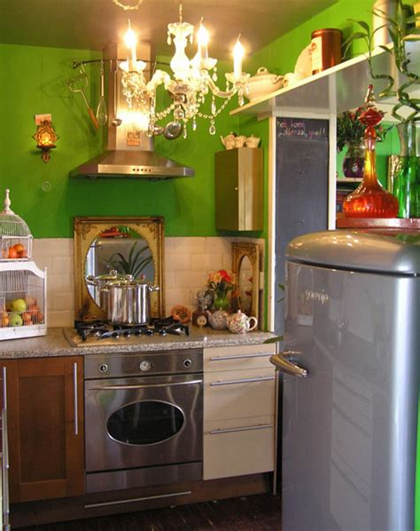 Funky Kitchens Ideas Funky Small Kitchen With Green Wall Funky Small Kitchen