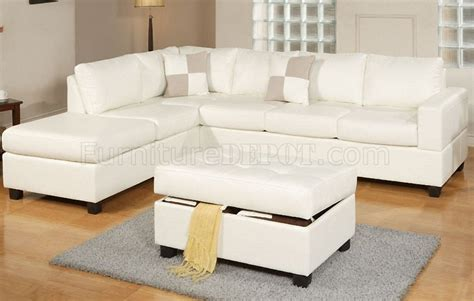cream sectional f7354 modern sectional sofa in cream bonded leather by poundex