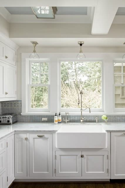 Kitchen Sink Windows Sacks Kitchen Backsplash Transitional Kitchen