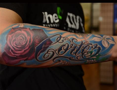 tattoo lettering in color rafael marte tattoos tattoos lettering script and rose