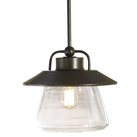 Lowes Kitchen Pendant Lights Shop Allen Roth Bristow 12 In W Mission Bronze Pendant Light With Clear Glass Shade At Lowes