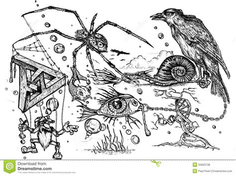 pen and ink doodle surreal doodle royalty free stock photos image 34823738