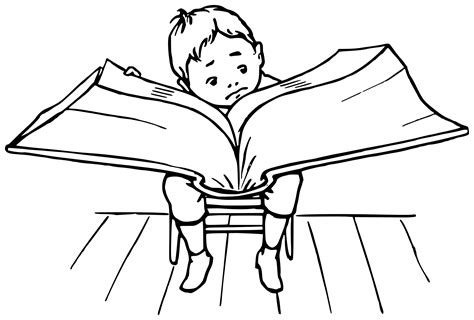 big book pictures clipart boy reading a big book