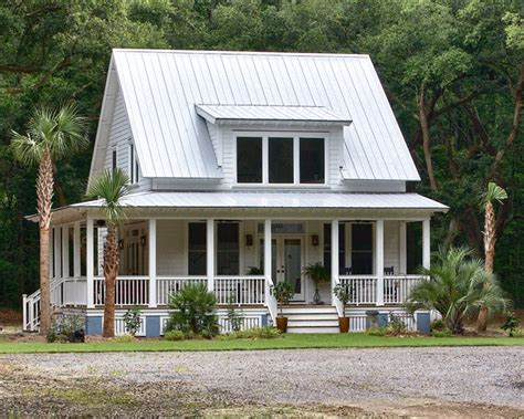 one of a metal building home w porch farm shop