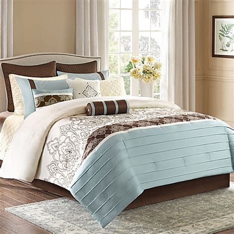 Blue Brown Bedding Sets Park Temsia 12 Comforter Set In Blue Brown Bed Bath Beyond