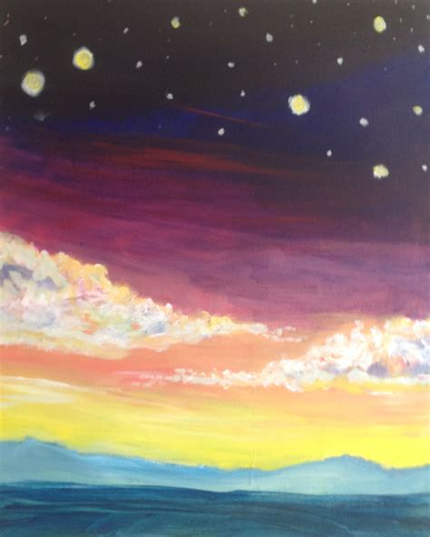 acrylic paint beginners cosmic sunset crafts acrylic paintings
