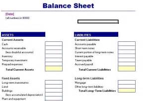 Household Balance Sheet Template by Balance Sheet Template Balance Sheet Sle