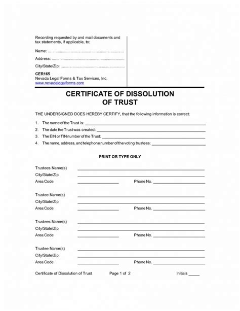 Certificate Of Dissolution Of Trust Nevada Legal Forms Tax Services Inc Certificate Of Trust Template