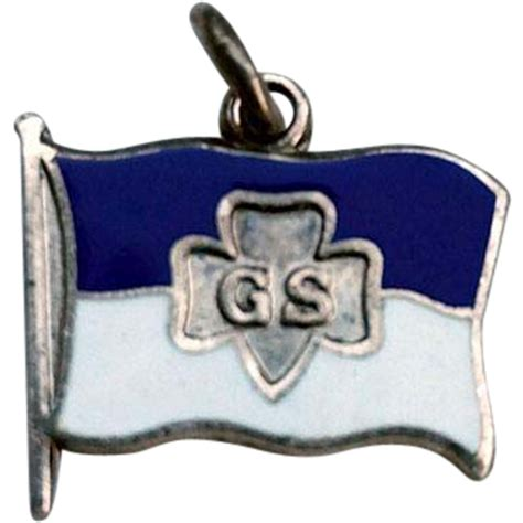 sterling enamel scout trefoil flag charm from