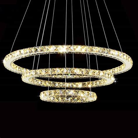 Modern Led Diamond Ring Chandeliers Chrome Mirror Finish Led Chandelier