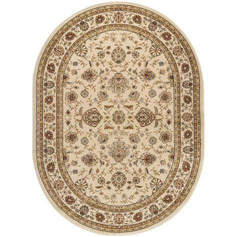 7 x 9 oval area rugs tayse rugs elegance beige 6 ft 7 in x 9 ft 6 in oval indoor area rug 5142 ivory 7x10 oval
