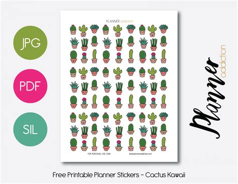 free printable kawaii planner stickers kawaii cactus planner addiction
