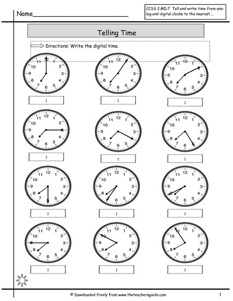 Time To The Hour Worksheets by Telling Time Worksheets From The S Guide