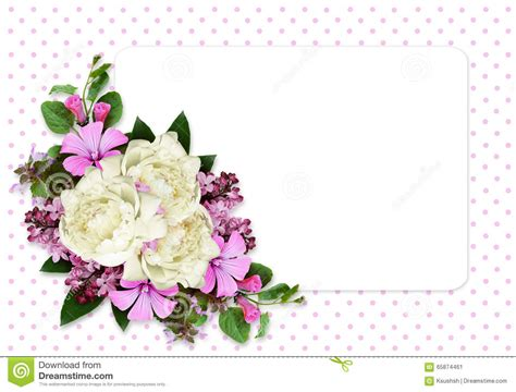 flowers for card peony and flowers composition on white card stock