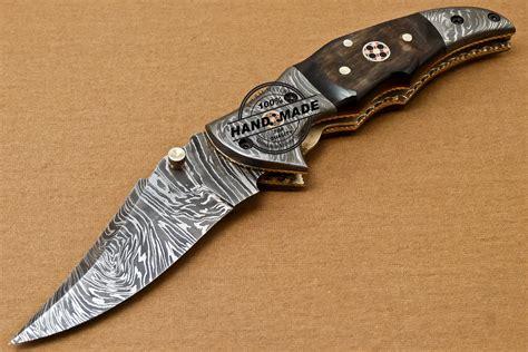 Handmade Forged Knives - liner lock damascus folding knife custom handmade forged