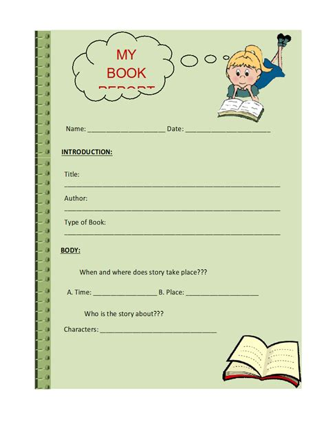picture book report free book report templates formats exles in word excel