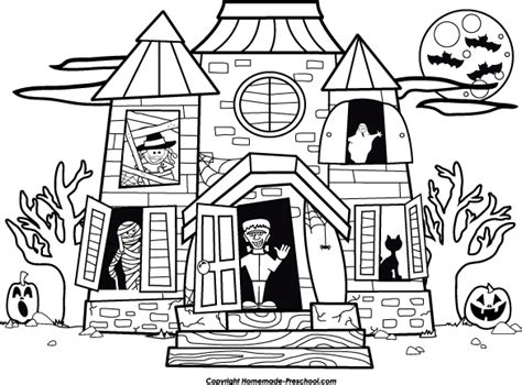 halloween coloring pictures haunted house free halloween clipart