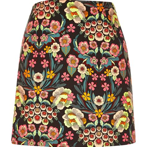 river island pink retro floral print mini skirt in pink lyst