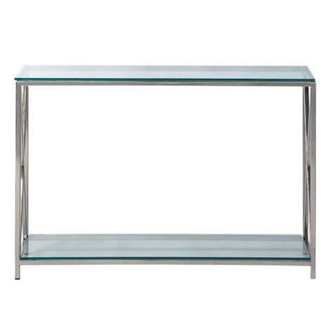 Table console en acier et verre chromée L 119 cm Helsinki