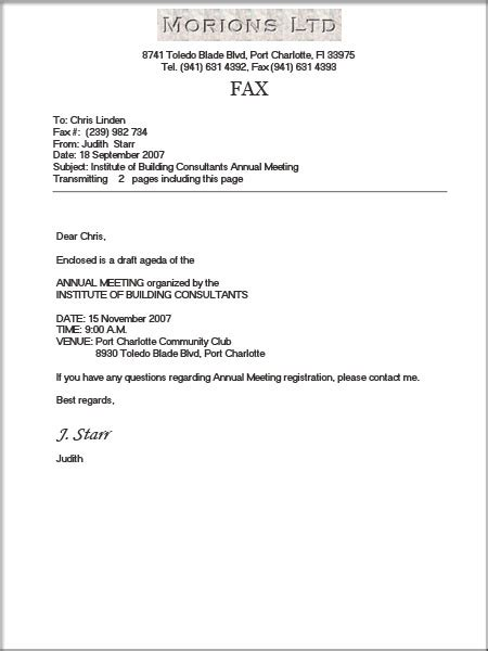 All Templates: Fax Cover Letter Template