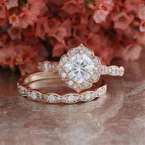 One Wedding Rings by Forever One Moissanite Engagement Ring And Scalloped