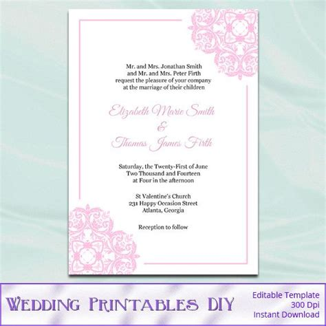 Wedding Card Text Template by Navy Blue Silver Gray Wedding Invitation Template Diy