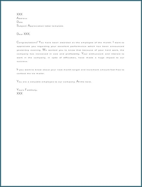 appreciation letter to employee for performance appreciation letter sles to write personal or