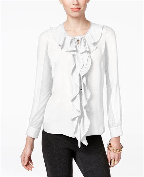 Macys Blouse white ruffle blouse macy s collar blouses