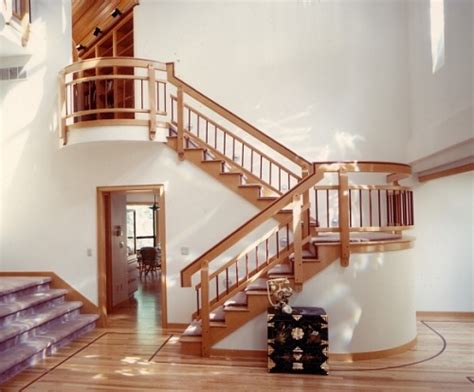 Back Stairs Design Open Switch Back Stair Curved Landing Home Interior Design Ideas