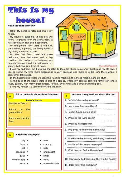 is my house 107 free esl rooms in the house worksheets
