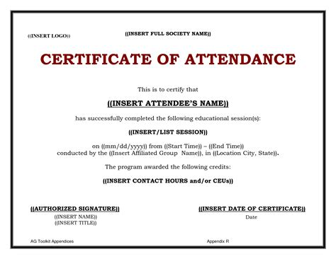 search results for certificate of attendance template