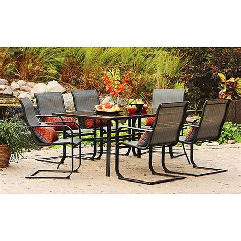 mainstays crossman 7 patio dining set green seats 6 mainstays pyros 7 patio dining set seats 6 patio