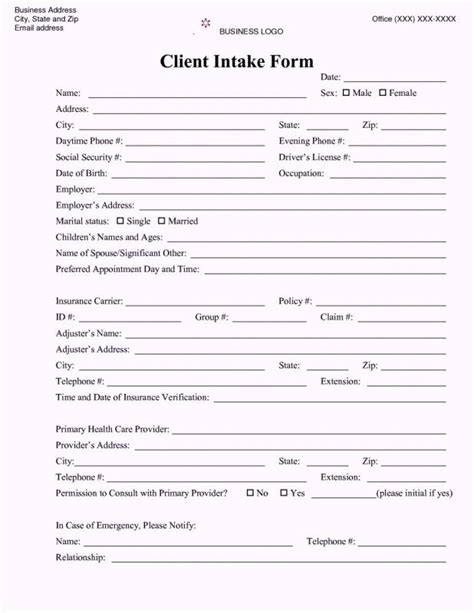 Counseling Intake Form Beneficialholdings Info Intake Form Template