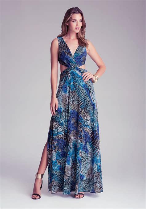 Printed Maxi Dress lyst bebe v printed maxi dress in blue