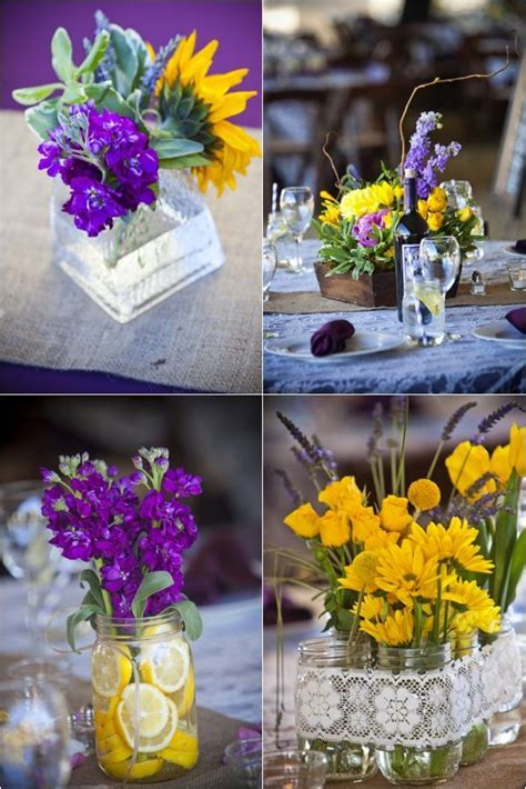 purple and yellow floral and mason jar centerpieces