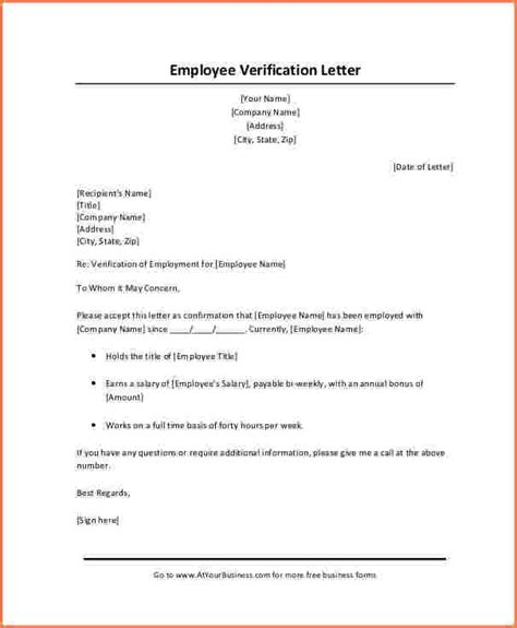 Employment Verification Letter Sle For Apartment 6 Employment Verification Letter With Salary Sales Slip Template