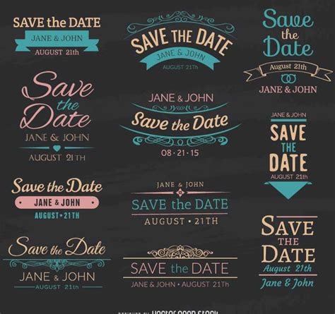 save the date chalk emblems download de vetor gratuito