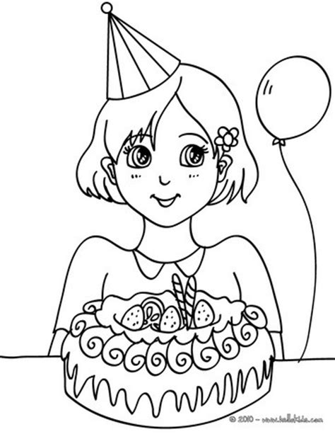 coloring page birthday girl girl with a birthday cake coloring pages hellokids com