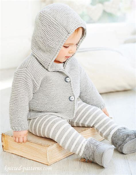 knitting jacket baby hooded jacket knitting pattern
