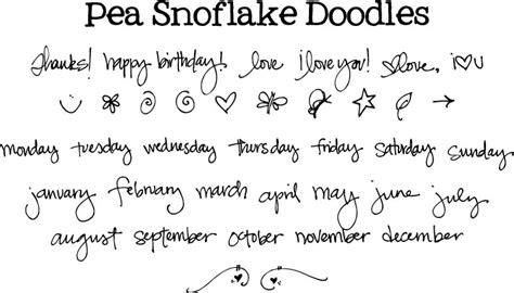 free doodle handwriting fonts pea snoflake doodles