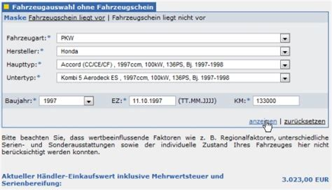 Restwert Auto Dat by Schwacke Wertermittlung Kostenlos Den Fahrzeugwert Kfz