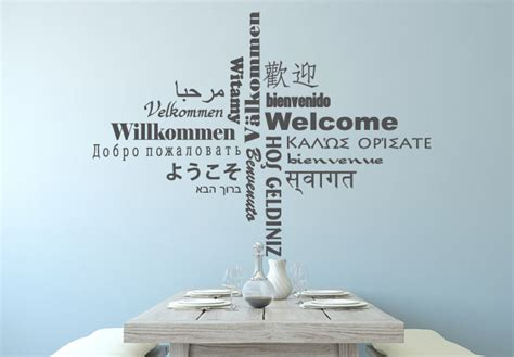 words wall stickers welcome multicultural wall decal quote vinyl sticker
