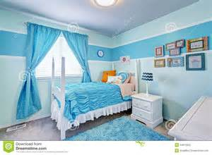 2 4 M Curtain Pole Charming Girls Room Interior In Blue Tones Stock Photo