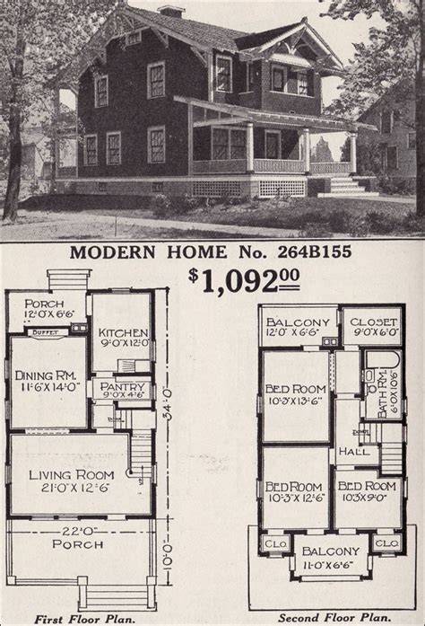sears floor plans modern home 264b155 two story craftsman style bungalow 1916 sears house plans