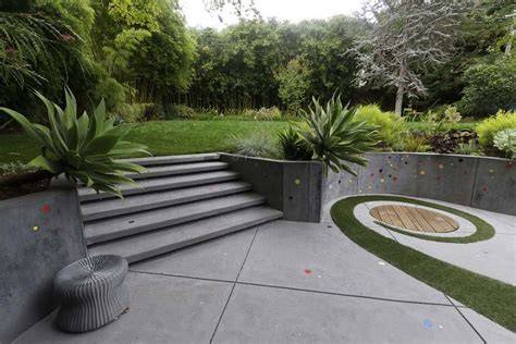 Concrete design ideas patio contemporary with fire pit flower sculpture fire pit