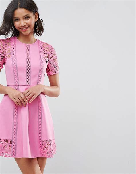 asos premium lace insert mini dress pink times uk 163 45 00