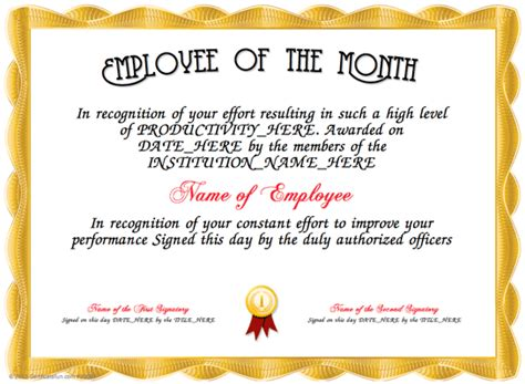 employee of the month certificates templates employee of the month