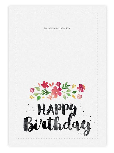 Printable Birthday Card Spring Blossoms Clementine Creative Birthday Card Template To Print