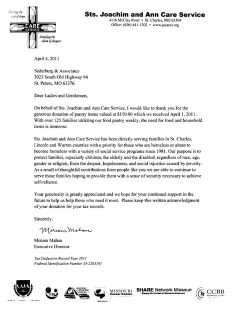 Sle Thank You Letter For Generous Donation Sederburg Associates